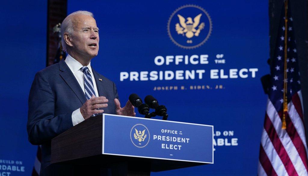 President-elect Joe Biden speaks at The Queen theater on Nov. 10, 2020, in Wilmington, Del. (AP)