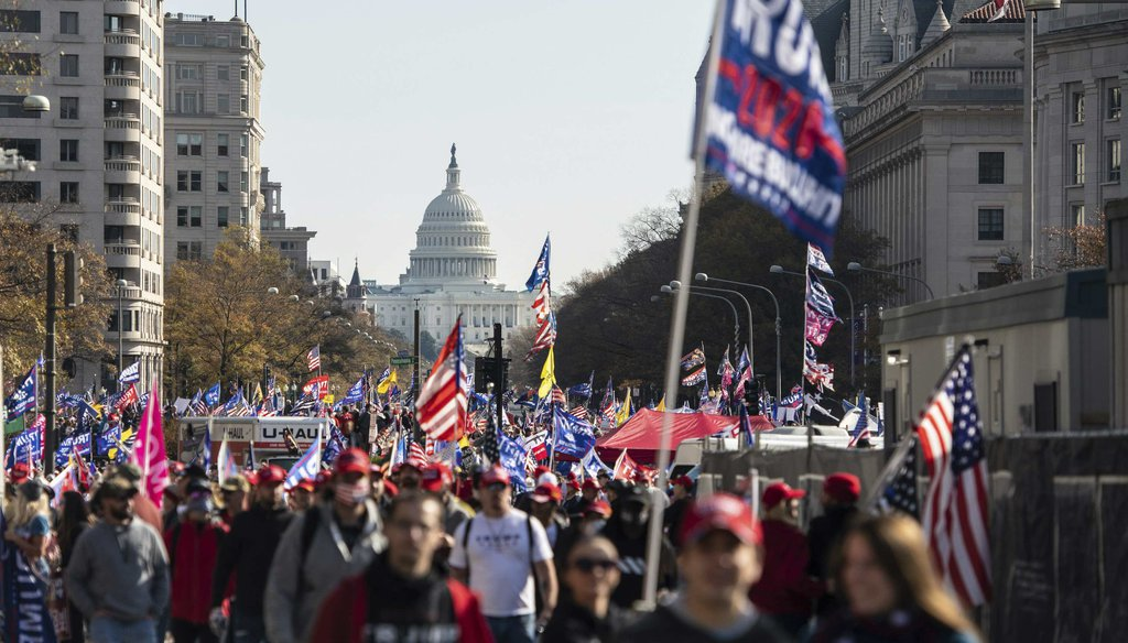 Trump supporters demonstrate near Freedom Plaza during the Million MAGA March protest on Nov. 14, 2020, in Washington D.C. (MediaPunch Standard via AP)