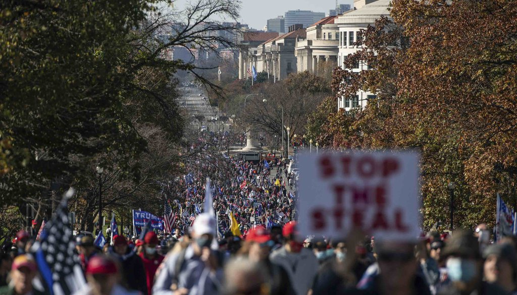 Trump supporters march toward the Supreme Court during the Million MAGA March on Nov. 14, 2020, in Washington. (MediaPunch Standard via AP)