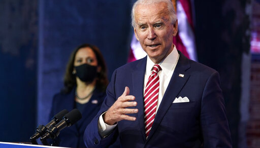 President-elect Joe Biden, accompanied by Vice President-elect Kamala Harris, speaks at The Queen theater on Nov. 16, 2020, in Wilmington, Del. (AP/Harnik)