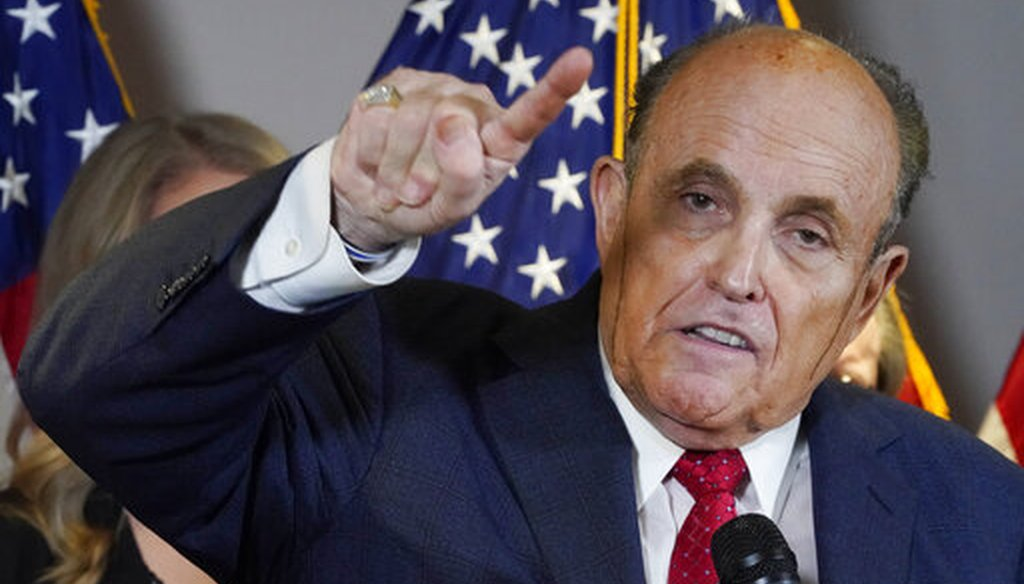 Rudy Giuliani, a lawyer for Donald Trump, speaks during a news conference on Nov. 19, 2020. (AP)