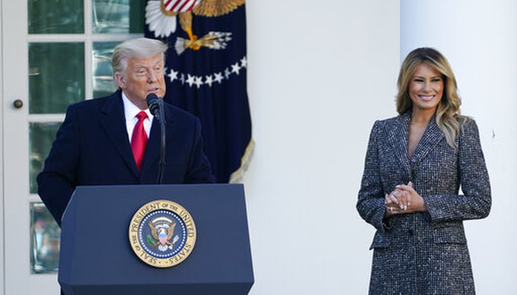 President Donald Trump speaks before pardoning the national Thanksgiving turkey on Nov. 24, 2020, as first lady Melania Trump watches. (AP)
