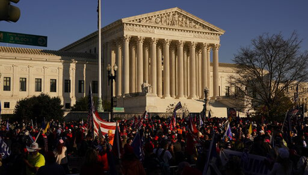Supporters of then-President Donald Trump march outside of the Supreme Court building in Washington on Nov. 14, 2020. (AP)