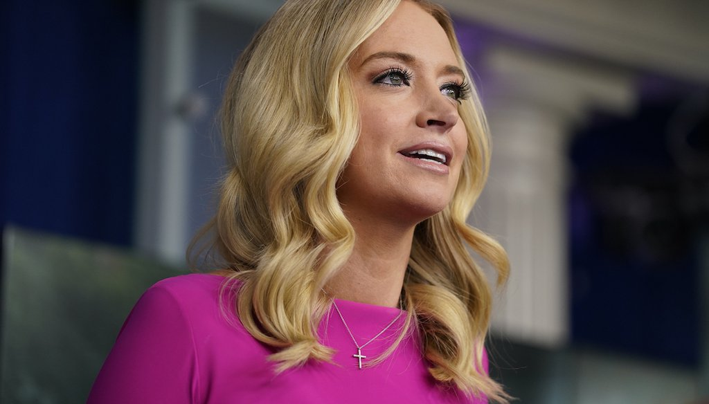 Fox News on-air commentator Kayleigh McEnany, then the White House press secretary, speaks during a briefing at the White House on Dec. 2, 2020, in Washington. (AP/Vucci)