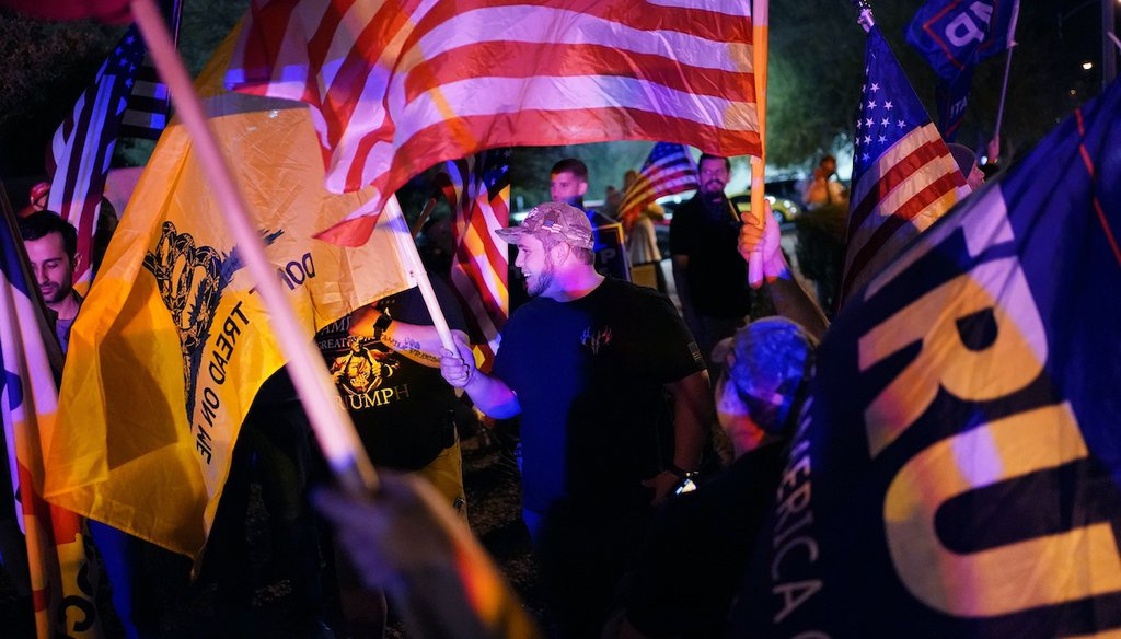 In this Nov. 5, 2020, file photo, supporters of President Donald Trump protest the Nevada vote in front of the Clark County Election Department in Las Vegas. (AP)