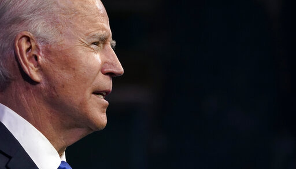 President-elect Joe Biden speaks after the Electoral College formally elected him as president on Dec. 14, 2020, at The Queen theater in Wilmington, Del. (AP/Semansky)