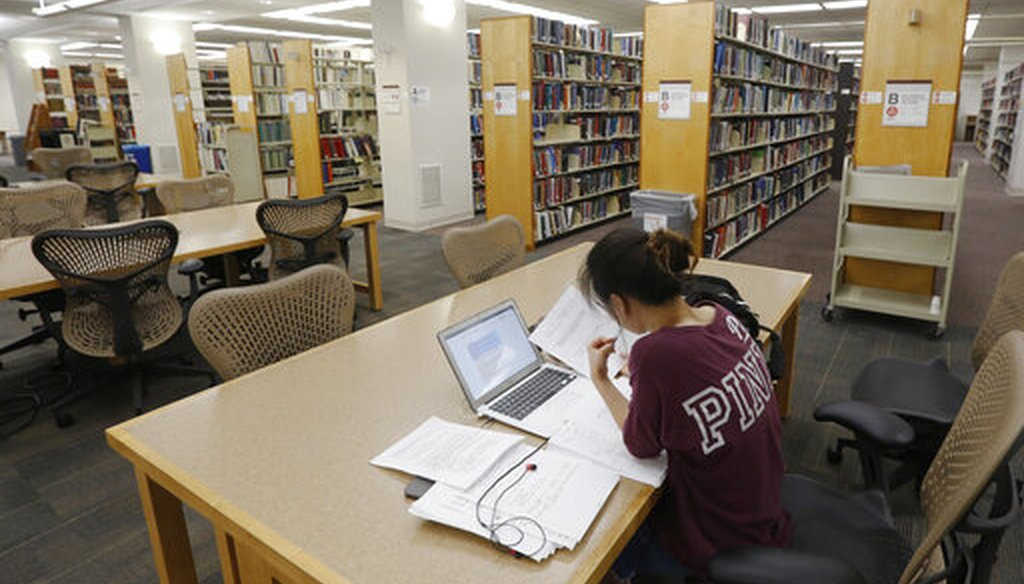A student works in the library at Virginia Commonwealth University in Richmond, Va., in 2019. (AP)