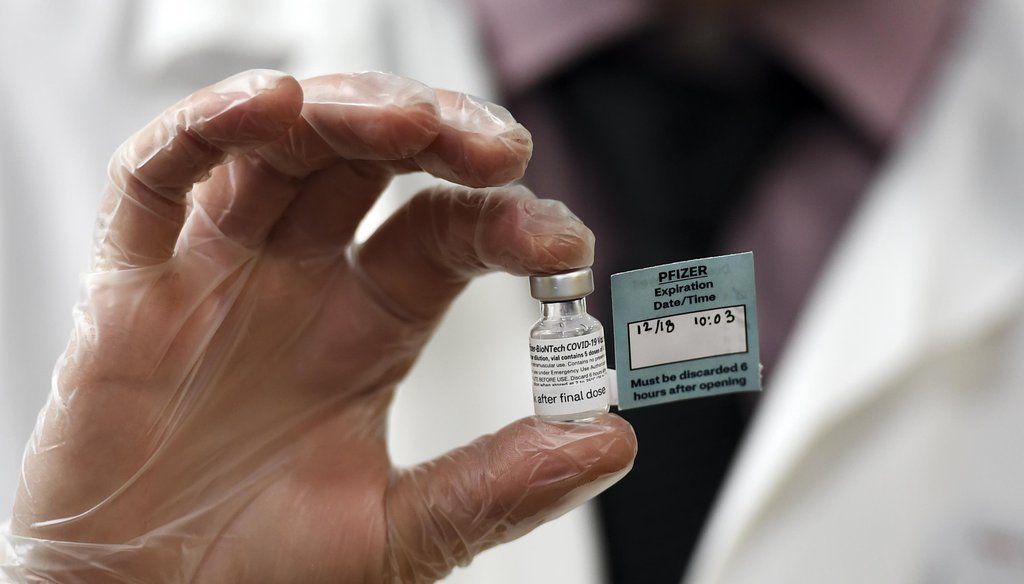 A vial of the Pfizer vaccine used at The Reservoir nursing facility, is shown Dec. 18, 2020, in West Hartford, Conn. (AP)