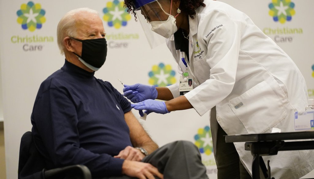 President-elect Joe Biden receives his first dose of the coronavirus vaccine at ChristianaCare Christiana Hospital in Newark, Del., Dec. 21, 2020, from nurse practitioner Tabe Mase. (AP)