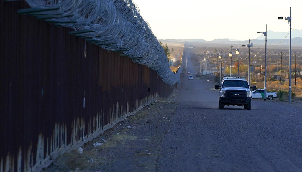 A U.S. Border Patrol vehicle drives along the U.S.-Mexico border Dec. 15, 2020, in Douglas, Ariz. (AP)