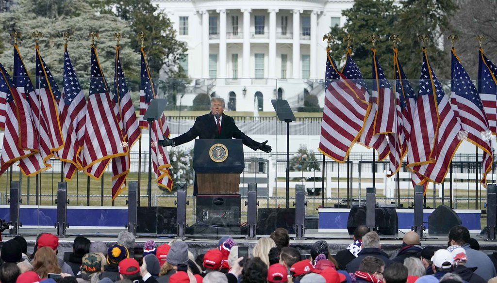 President Donald Trump speaks at a rally near the White House on Jan. 6, 2021, in Washington. (AP)