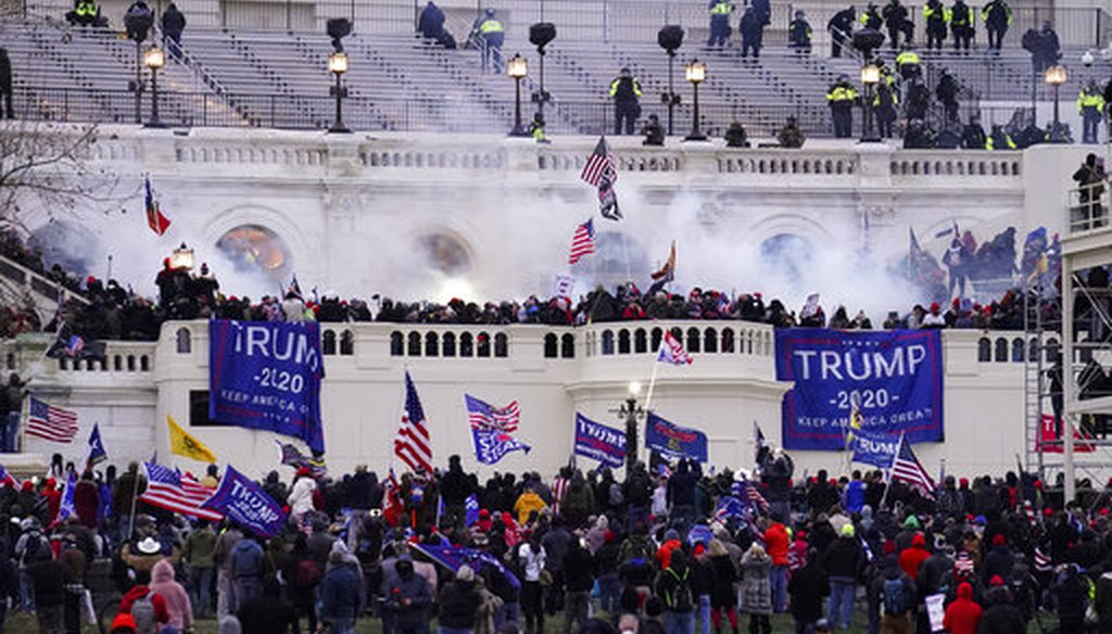 Violent protesters, loyal to President Donald Trump, storm the Capitol on Jan. 6, 2021. (AP)