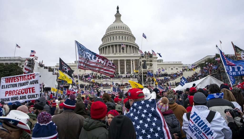 Rioters were seen outside the U.S. Capitol on Jan. 6, 2021, in Washington. (AP/Magana)