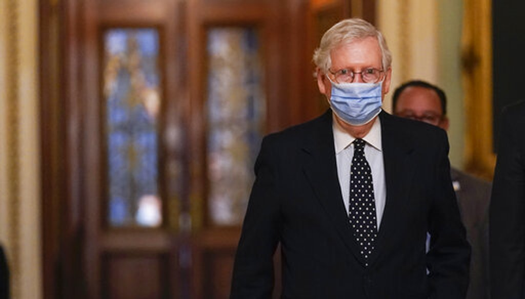 Senate Majority Leader Mitch McConnell, R-Ky., walks from the Senate floor to his office on Capitol Hill on Jan. 6, 2021. (AP)