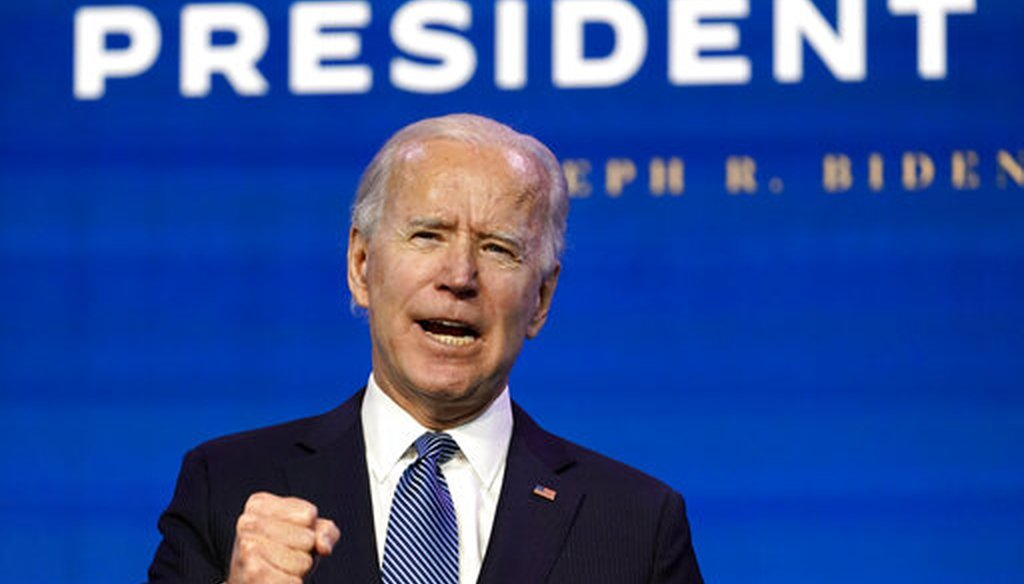 President-elect Joe Biden speaks during an event at The Queen theater in Wilmington, Del., Jan. 7, 2021. (AP)