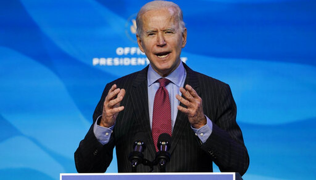 President-elect Joe Biden speaks during an event at The Queen theater in Wilmington, Del. on Jan. 8, 2021. (AP/Walsh)