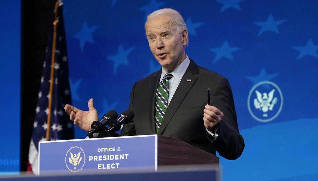 President-elect Joe Biden speaks during an event at The Queen theater on Jan. 16, 2021, in Wilmington, Del. (AP)