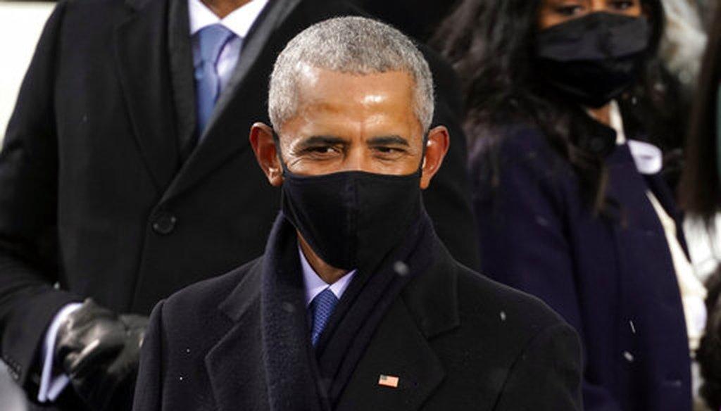 Former President Barack Obama arrives for the inauguration of President Joe Biden on Jan. 20, 2021. (AP)