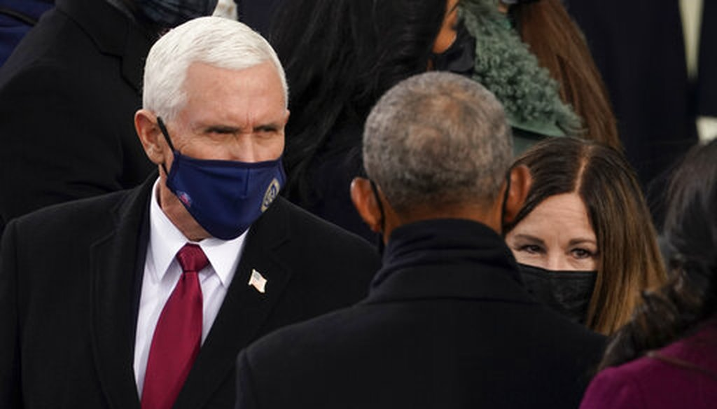 Former President Barack Obama greets outgoing Vice President Mike Pence and his wife Karen at the inauguration of Joe Biden on Jan. 20, 2021. (AP)