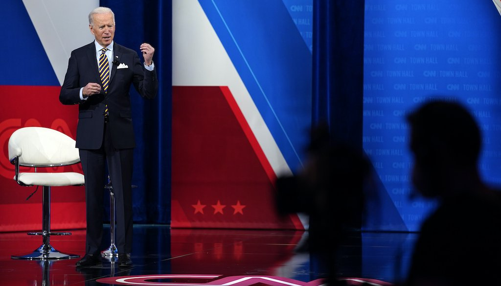 President Joe Biden talks during a televised town hall event at Pabst Theater, Feb. 16, 2021, in Milwaukee. (AP)