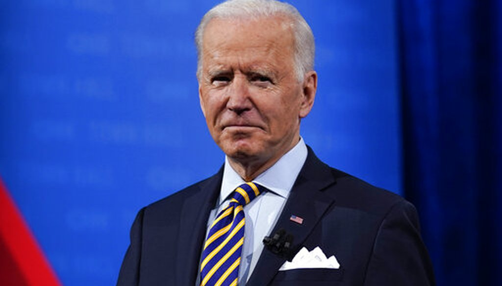 President Joe Biden during a break in a televised town hall event in Milwaukee on Feb. 16, 2021. (AP)