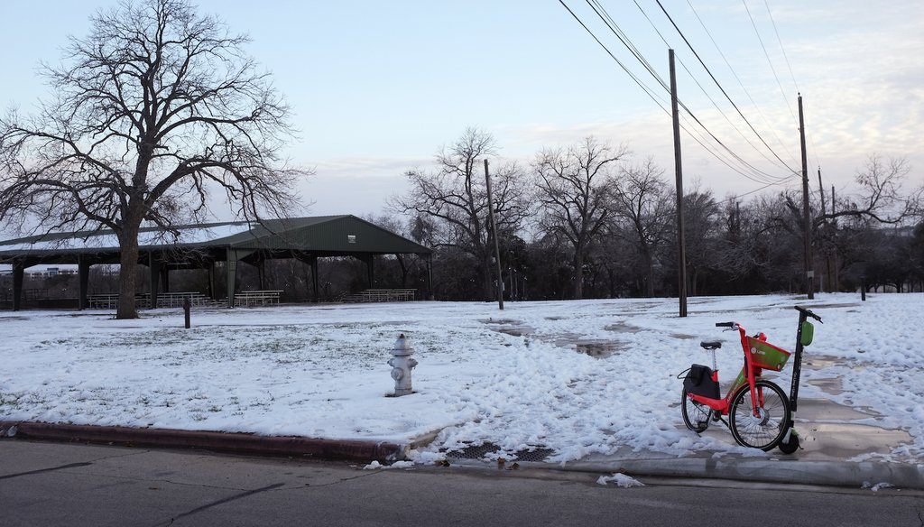 A snow-covered park in Austin, Texas. (AP)