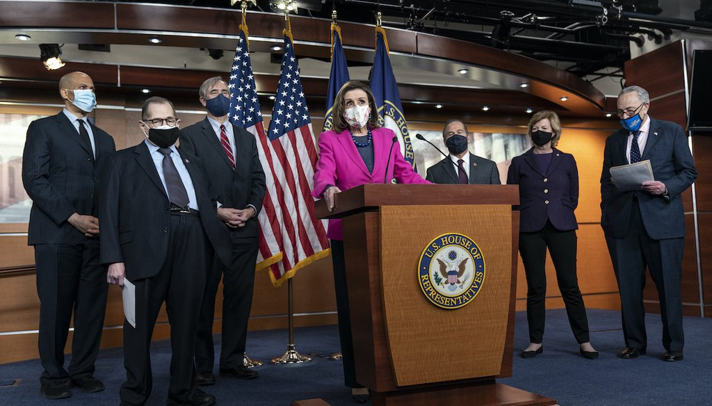 House Speaker Nancy Pelosi, center, speaks about the Equality Act on Feb. 25, 2021, with Rep. Jerry Nadler, D-N.Y., and other lawmakers on Capitol Hill in Washington. (AP)