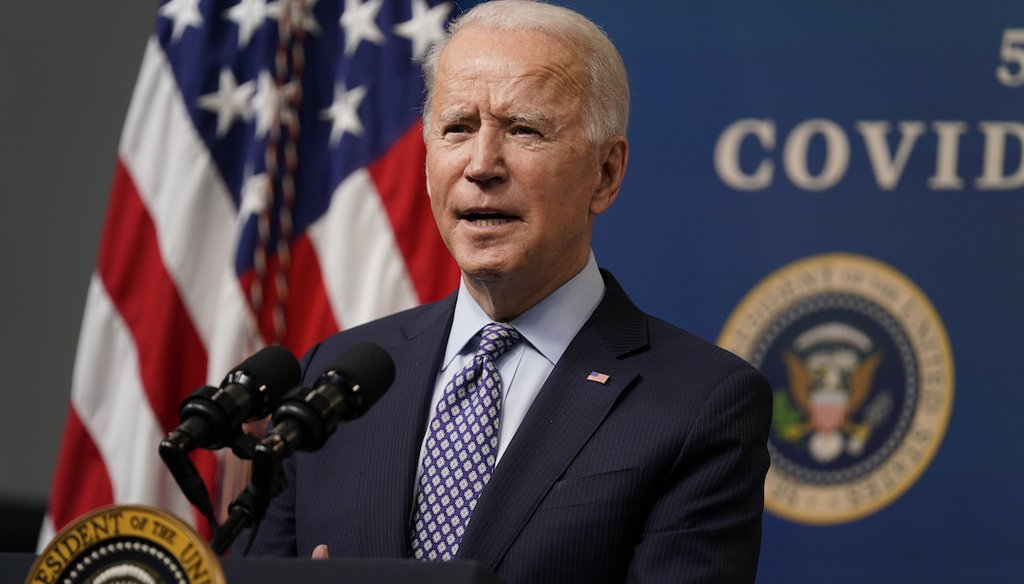 President Joe Biden speaks during an event to commemorate the 50 millionth COVID-19 shot, in the White House campus on Feb. 25, 2021, in Washington. (AP/Vucci)