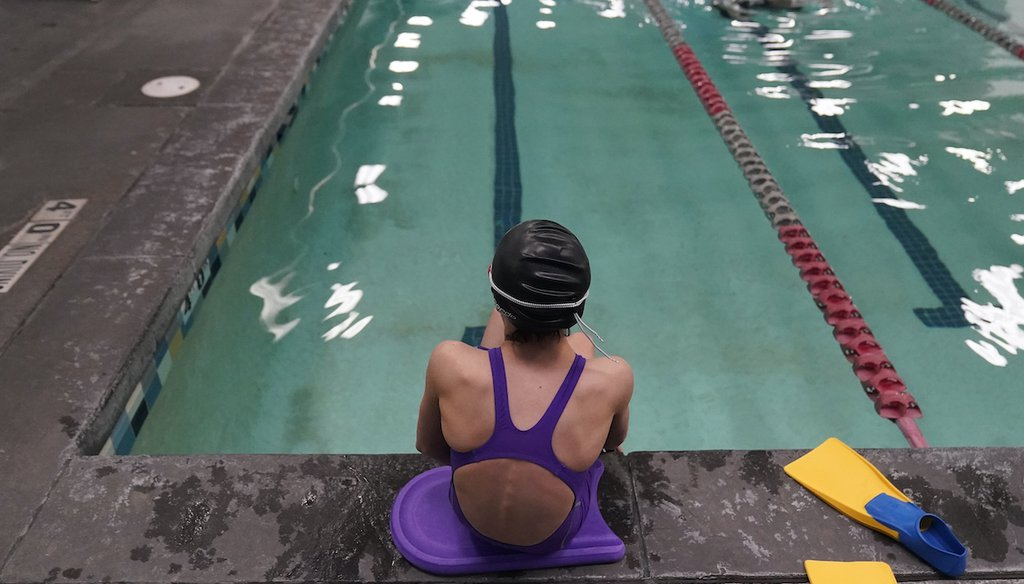 A proposed ban on transgender athletes playing female school sports in Utah would affect transgender girls like this 12-year-old swimmer seen at a pool in Utah on Feb. 22, 2021. (AP)
