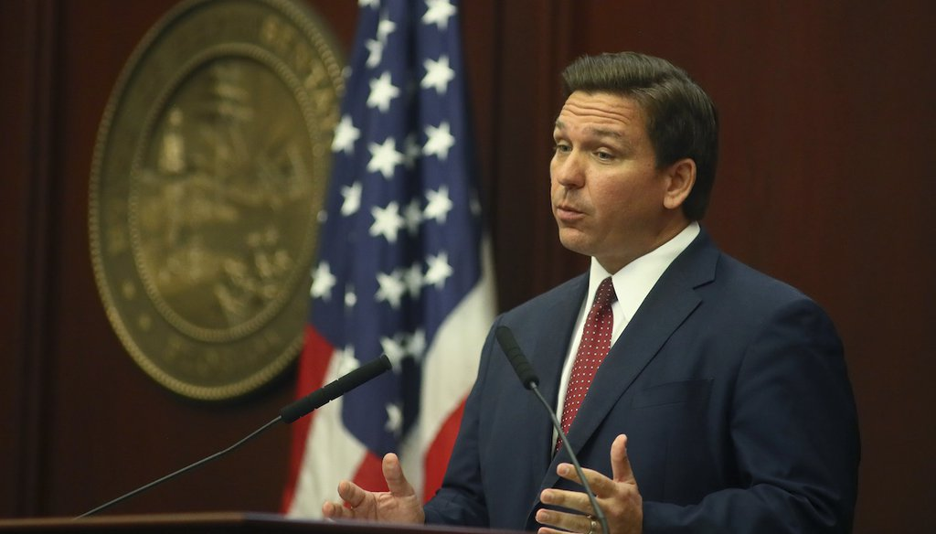 Florida Gov. Ron DeSantis speaks during his State of the State address at the Capitol in Tallahassee, Fla., March 2, 2021. (AP)