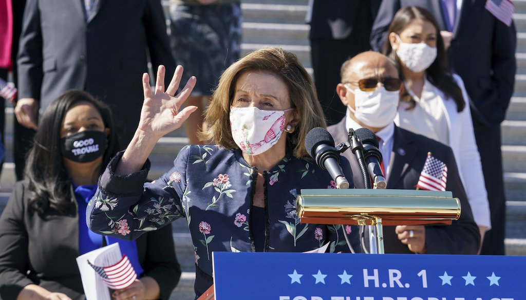 House Speaker Nancy Pelosi, D-Calif., and the Democratic Caucus address reporters on H.R. 1, the For the People Act of 2021, at the Capitol in Washington on March 3, 2021. (AP/Applewhite)