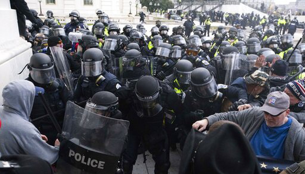 U.S. Capitol Police push back rioters trying to enter the U.S. Capitol on Jan. 6, 2021. (AP)