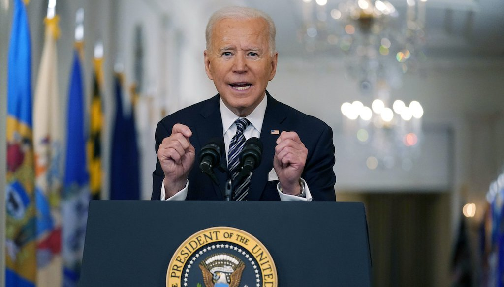 President Joe Biden speaks about the COVID-19 pandemic during a prime-time address from the East Room of the White House, Thursday, March 11, 2021, in Washington. (AP)