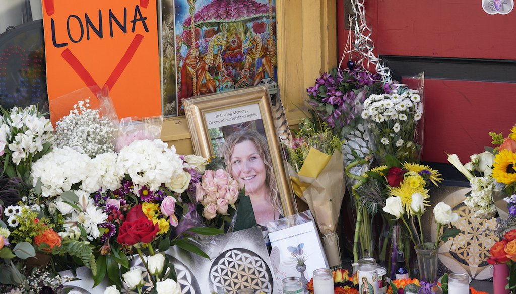 A tribute is displayed outside the store owned by one of 10 victims in the mass shooting at a King Soopers grocery store in Boulder, Colo., on March 24, 2021, in Boulder, Colo. (AP)