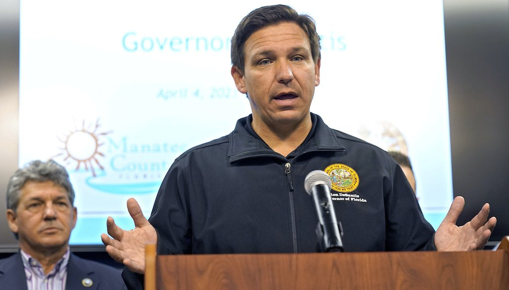 Florida Gov. Ron DeSantis gestures during a news conference April 4, 2021, at the Manatee County Emergency Management office in Palmetto, Fla. (AP)