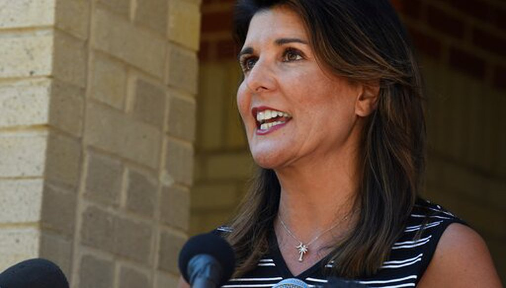 Former South Carolina Gov. Nikki Haley speaks with reporters after a tour of the campus of South Carolina State University on April 12, 2021. (AP)