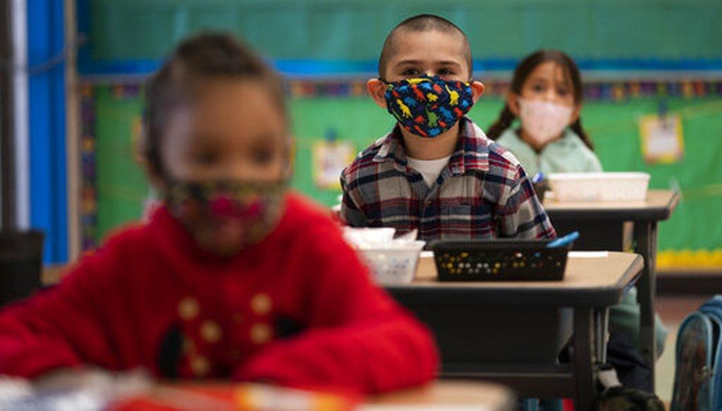 Kindergarten students at Maurice Sendak Elementary School in Los Angeles on April 13, 2021. (AP)
