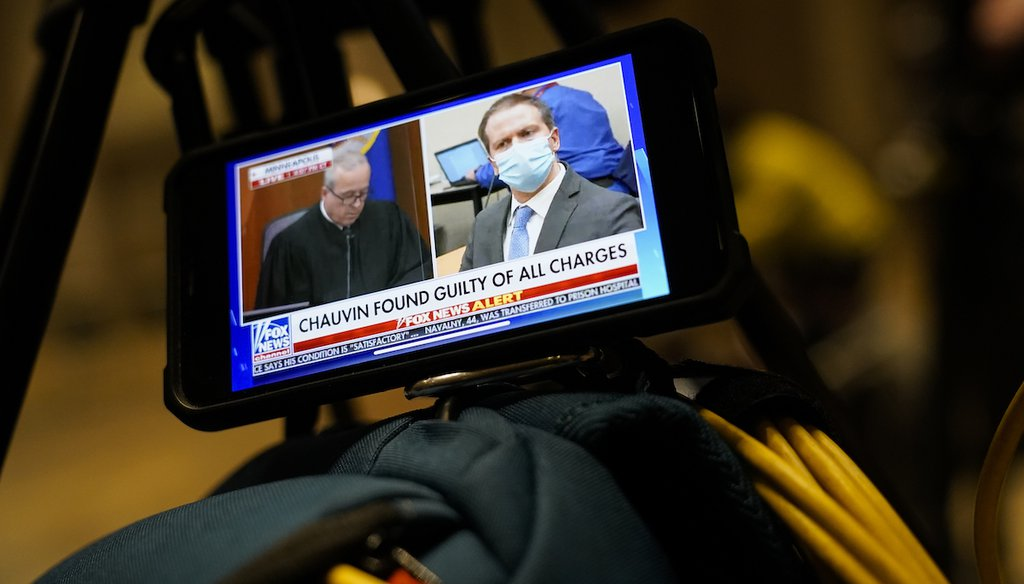 Former Minneapolis Police Officer Derek Chauvin is seen on a livestream after being convicted in the murder of George Floyd, on April 20, 2021, in Minneapolis. (AP/Minchillo)