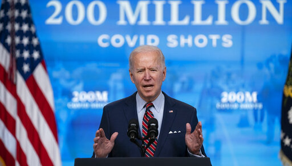 President Joe Biden speaks about COVID-19 vaccinations at the White House on April 21, 2021. (AP)