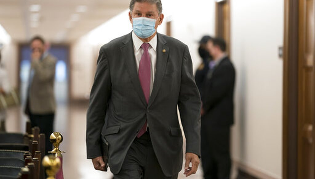 Sen. Joe Manchin, D-W.Va., heads to a Senate hearing on April 27, 2021. (AP)