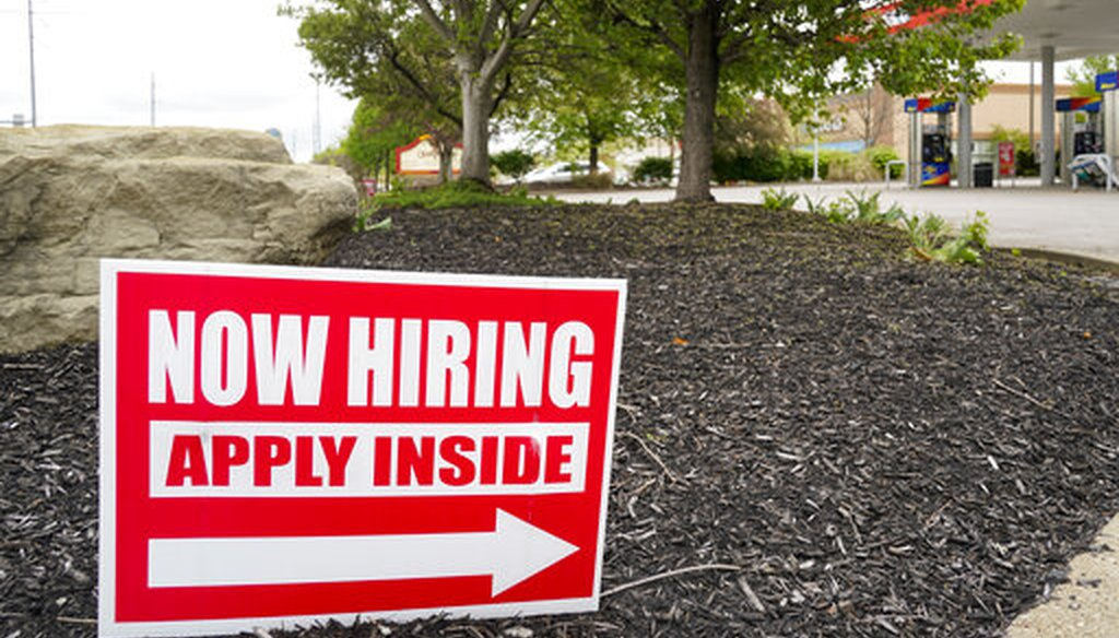 Hiring signs outside a gas station in Butler County, Pa., on May 5, 2021. (AP)