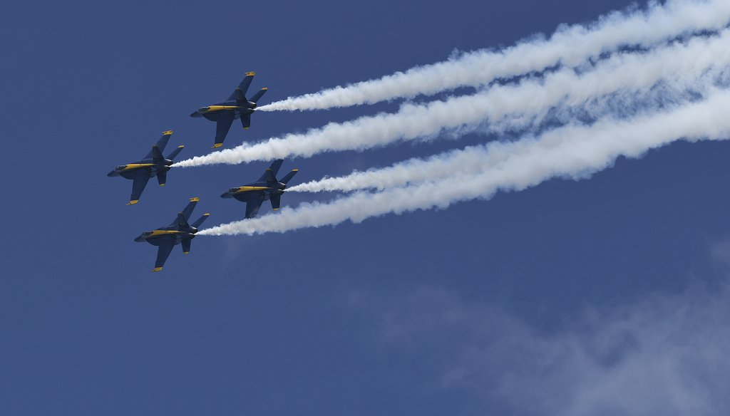 The U.S. Navy's Blue Angels Boeing F/A-18 Super Hornets are seen during the Fort Lauderdale Air Show at Fort Lauderdale Beach on May 8, 2021. (AP Images)