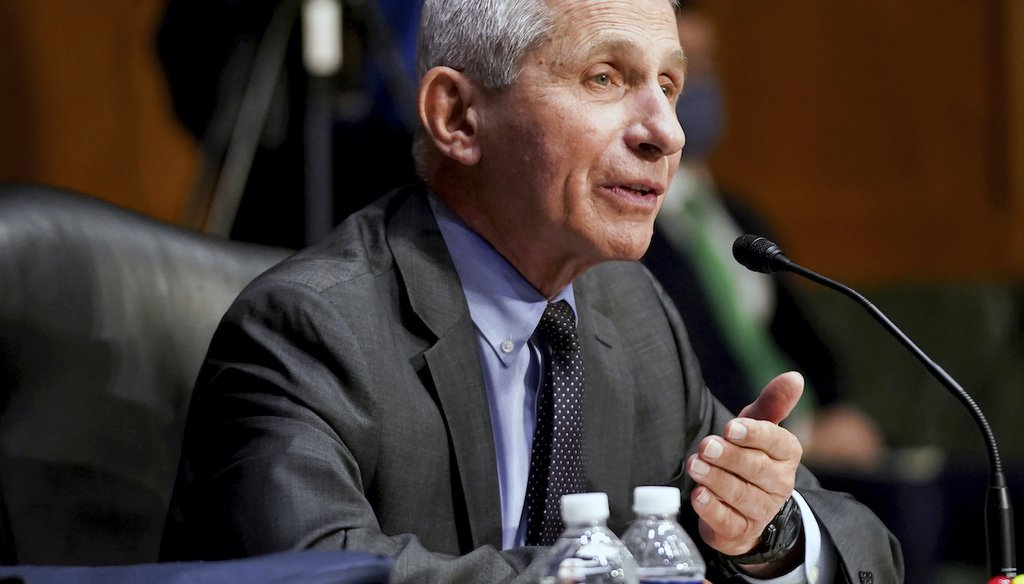 Dr. Anthony Fauci, director of the National Institute of Allergy and Infectious Diseases, testifies during a Senate Health, Education, Labor, and Pensions hearing to examine an update from Federal officials on efforts to combat COVID-19 on May 11 (AP)