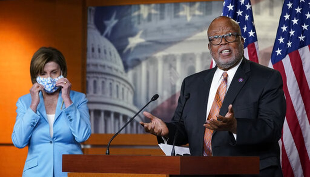 Rep. Bennie Thompson, D-Miss., and House Speaker Nancy Pelosi of Calif., talk to reporters on May 19, 2021, about legislation to create an independent, bipartisan commission to investigate the Jan. 6 attack on the Capitol. (AP)