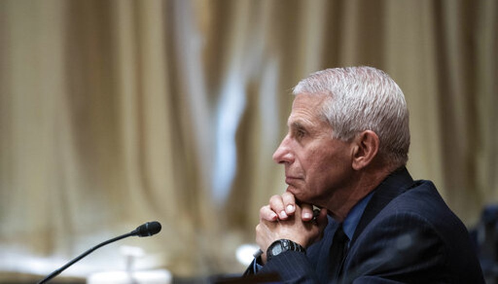 Dr. Anthony Fauci, director of the National Institute of Allergy and Infectious Diseases, listens during a Senate Appropriations Subcommittee hearing on May 26, 2021. (AP)