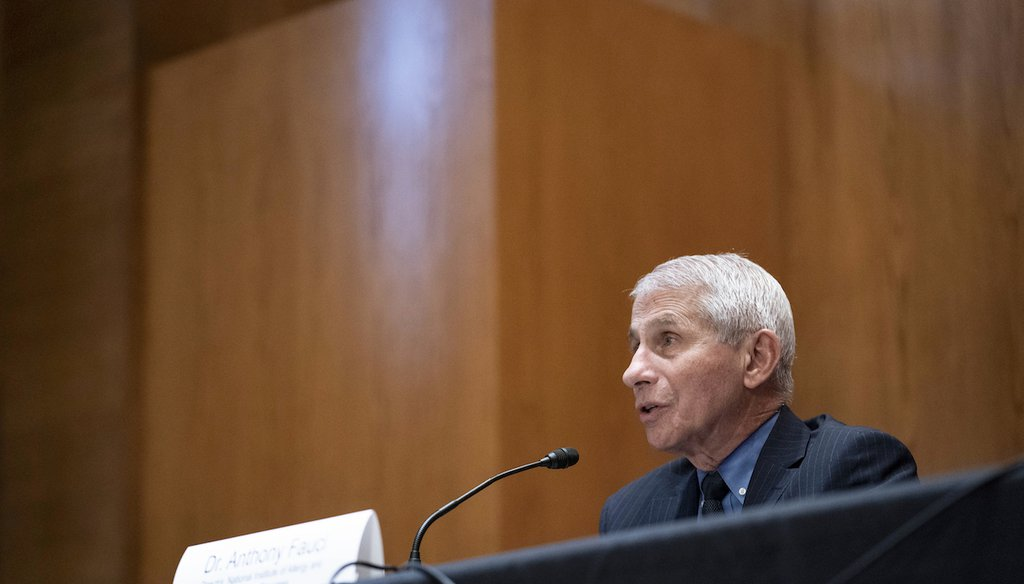 Dr. Anthony Fauci, director of the National Institute of Allergy and Infectious Diseases, speaks during a Senate Appropriations Subcommittee on May 26, 2021, on Capitol Hill in Washington. (AP/Silbiger)