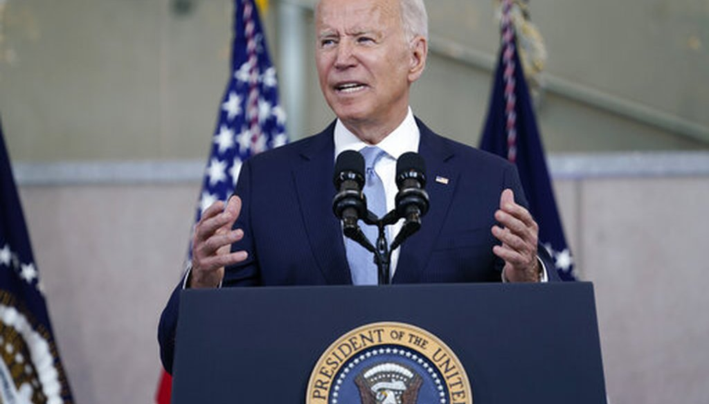 President Joe Biden delivers a speech on voting rights at the National Constitution Center in Philadelphia on July 13, 2021. (AP)