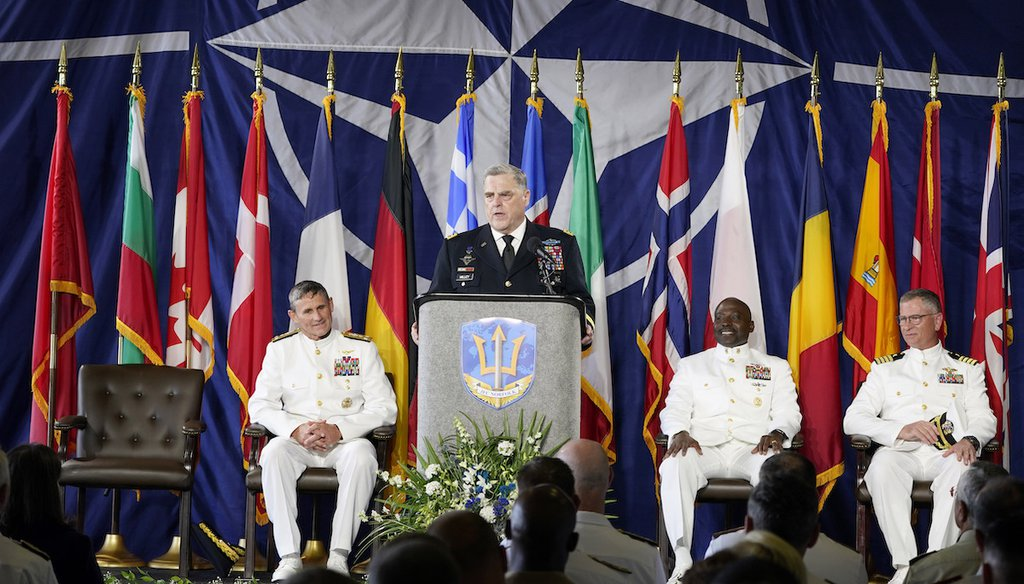 Gen. Mark Milley, Chairman of the Joint Chiefs of Staff, speaks during a ceremony marking full operation of NATO's Joint Force Command at Naval Station Norfolk on July 15, 2021, aboard the USS Kearsarge in Norfolk, Va. (AP/Helber)