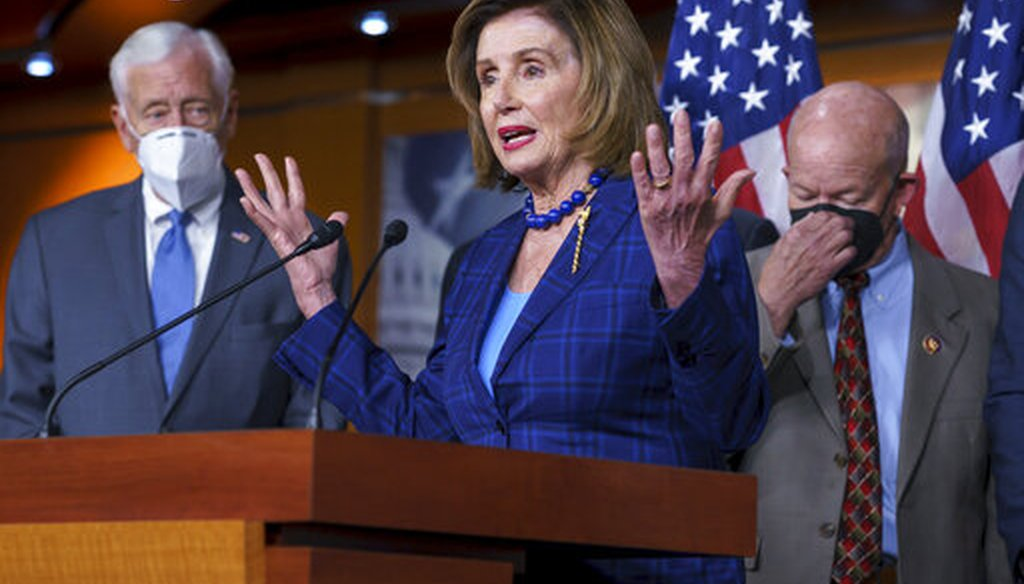 Speaker of the House Nancy Pelosi, D-Calif., flanked by Majority Leader Steny Hoyer, D-Md., left, and Transportation and Infrastructure Committee Chair Peter DeFazio, D-Ore., hold a news conference on July 30, 2021. (AP)