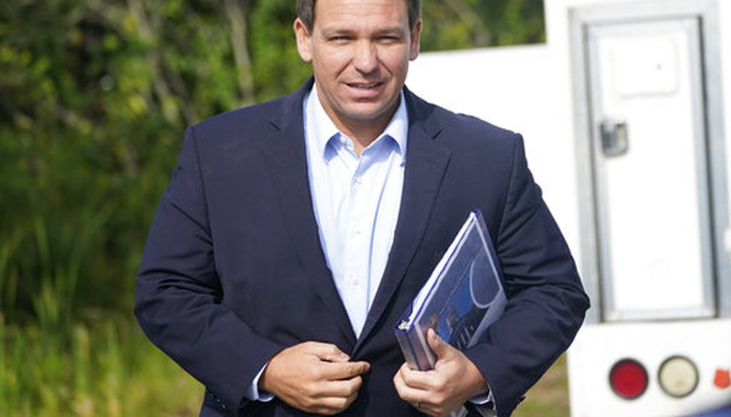 Florida Gov. Ron DeSantis arrives at a news conference in Miami on Aug. 3, 2021. (AP)